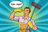 yes mam Husband and cleaning the house