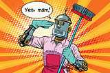 yes mam Robot and cleaning the house