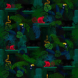 Rainforest wild animals and plants seamless pattern.