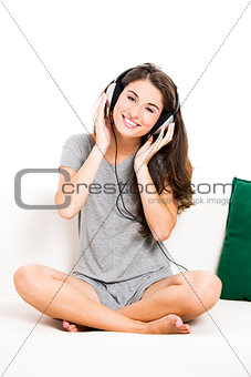 Beautiful woman listen music