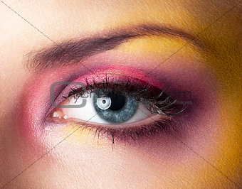 Beauty makeup yellow magenta eyes retouched skin