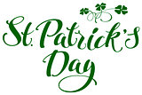 St. Patricks Day. Green lettering text and clover leaves