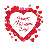 Happy Valentine s day abstract romantic background with cut paper hearts and text in heart frame isolated on white background.