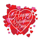 Happy Valentine s day abstract romantic background with many cut paper hearts and text in heart frame isolated on white background.