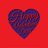 Happy Valentine s day abstract romantic background with cut congratulation in heart shape on red background.
