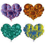 Four colourful floral hearts