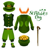 Set of accessories for St. Patricks Day. Green suit, hat, pot of gold, red beard, boots, pants, clover