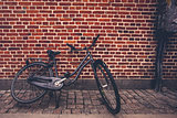 Classic Vintage Black Hipster Bicycle on the Street