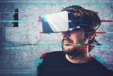 Man with 3d virtual reality headset