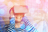 Woman watching 360 video with virtual reality headset