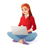 Vector beautiful young woman working with laptop sitting on floor.