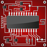 The chip on the background of electronic scheme.