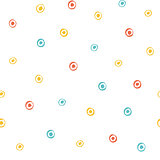 Seamless multicolored baby vector free hand doodle circle texture, dry brush ink art.