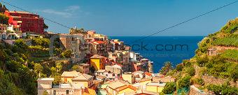 Aerial view of Manarola, Cinque Terre, Liguria, Italy