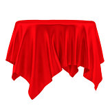Empty round red table cloth