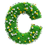 Letter C Of Green Grass And Flowers
