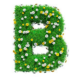 Letter B Of Green Grass And Flowers