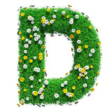 Letter D Of Green Grass And Flowers