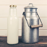 milk bottle and old aluminum can