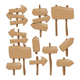 Set of wooden blank sign boards