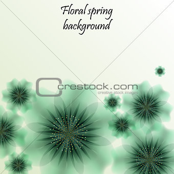 Green spring background with translucent flowers.