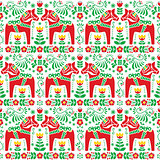 Seamless Scandinavian folk art pattern, Swedish Dala or Daleclarian horse floral design