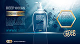 Digital vector blue deep ocean liquid soap mockup
