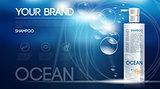 Digital vector silver shampoo mockup on blue