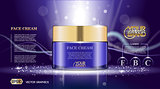 Digital vector glass face cream purple container