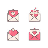Envelopes with hearts inside.