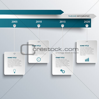 Time line info graphic with hanging white blue labels template