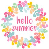 Hello summer watercolor vector wreath