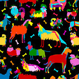 Funny dogs collection, seamless pattern for your design