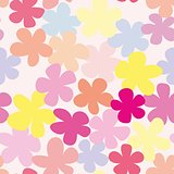 Tile pastel vector pattern with flowers on pink background
