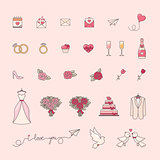 Wedding simple objects collection