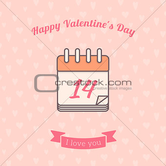 14 date calendar St. Valentine day holiday.