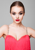 Beautiful ballroom dancer girl portrait red dress