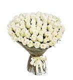 Flower bouquet of 100 white roses