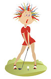 Funny woman playing golf