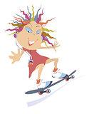 Skateboarding girl
