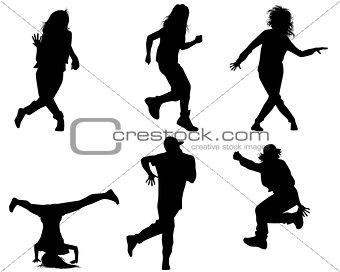 Six dancing teenagers