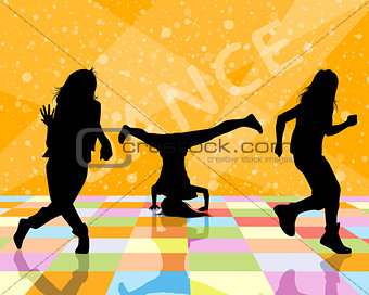 Three dancing teenagers