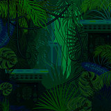 Dense foliage jungle nature background.