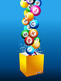 Bingo Jackpot balls on a box over blue background