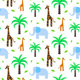 Savannah animals baby seamless pattern vector.
