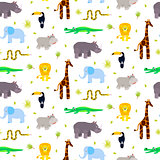 Zoo animals kid seamless pattern vector.