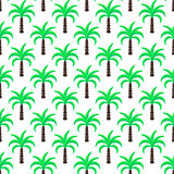 Green palm trees seamless vector pattern.