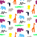 Cute zoo animal silhouettes toddler seamless pattern vector.
