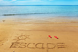 Escape message on the sand
