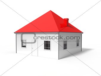 3d illustration of symbolic house.